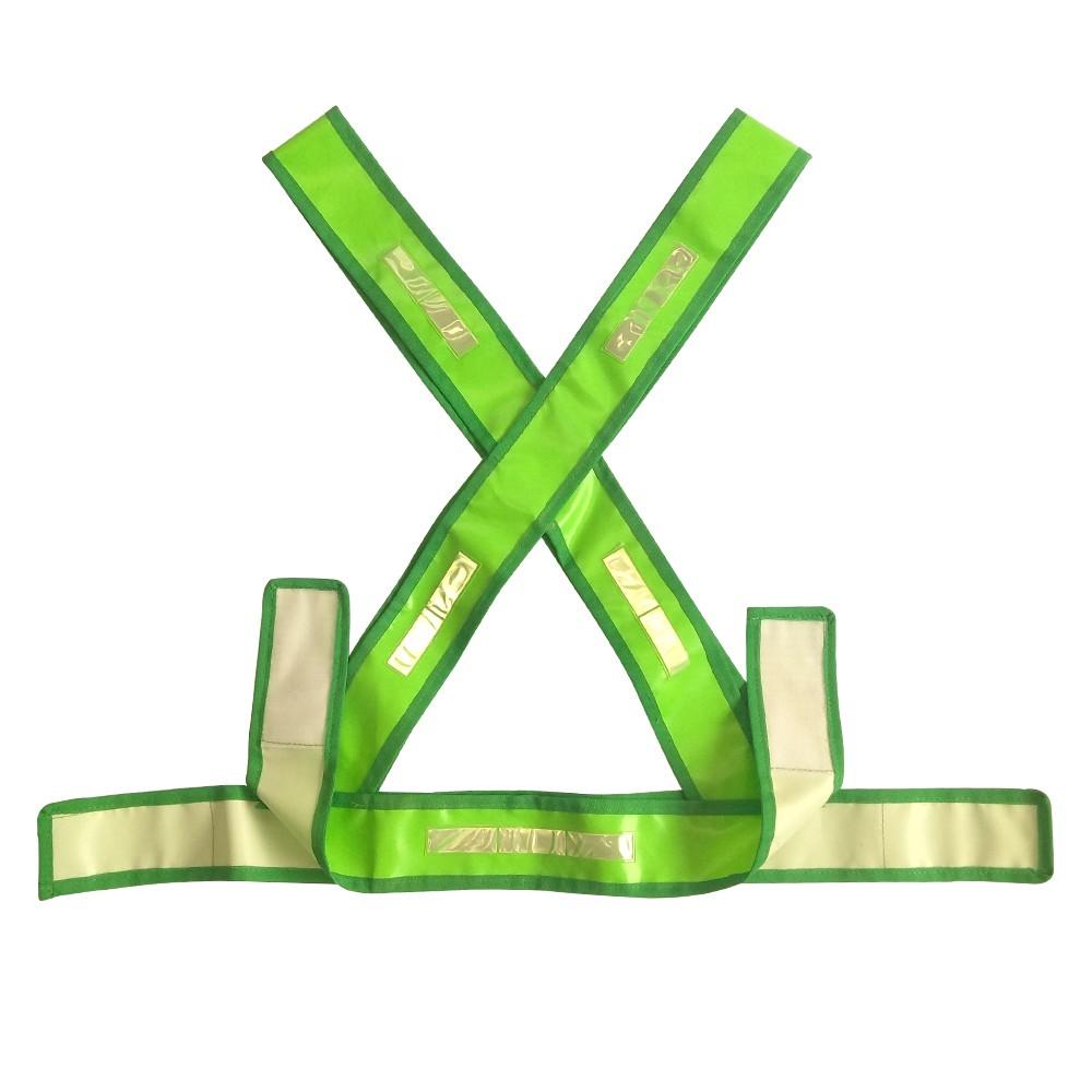 Colete De Sinalização De Pvc Tipo X Verde Refletivo
