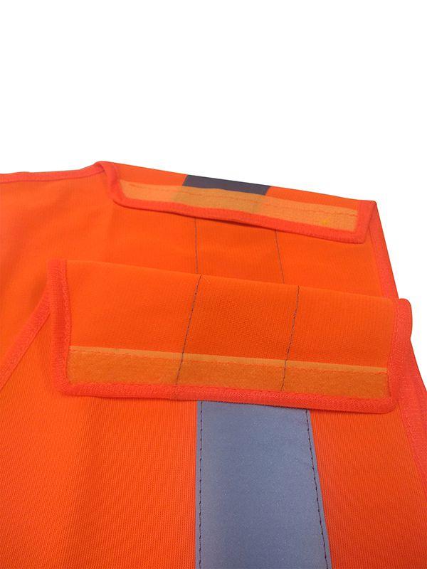 Colete Refletivo De Poliéster Laranja com Fechamento Frontal, Ombros e Cintura em Velcro