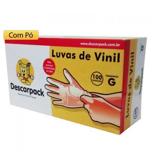 Luva De Vinil Com Pó Descartável Cx. Com 50 Pares