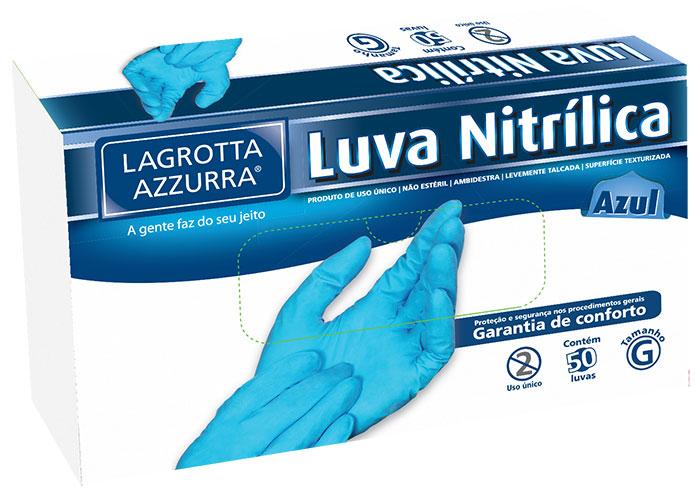 Luva Nitrílica Azul Lagrotta Azzurra Tam. M