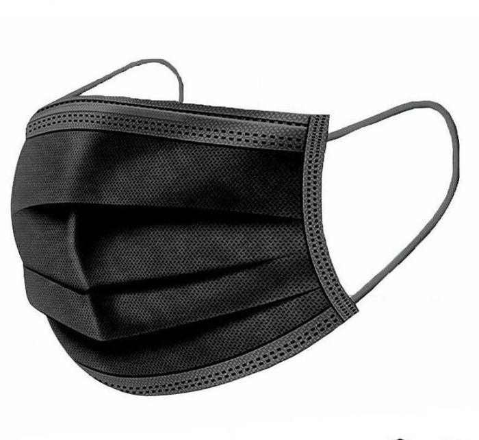Máscara Cirúrgica Descartável Tripla Preta Cx. C/ 50 unidades