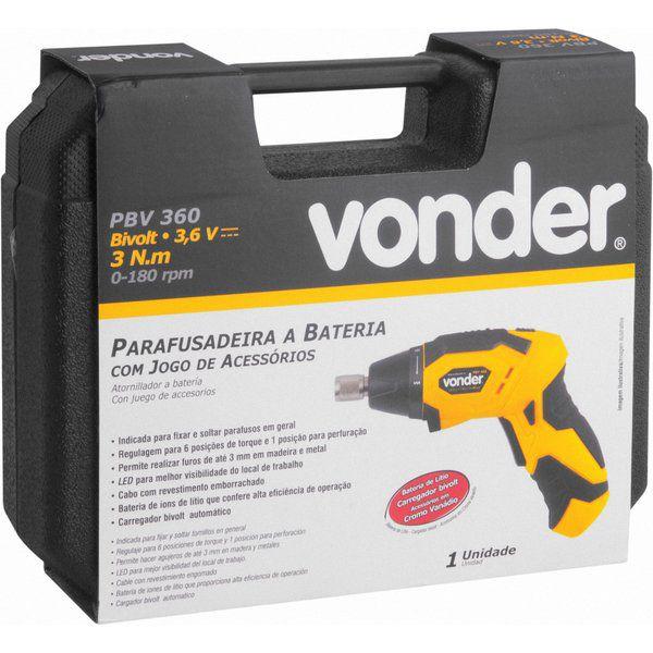 Parafusadeira à Bateria 3,6V Carregador Bivolt Automático PBV 360 Vonder