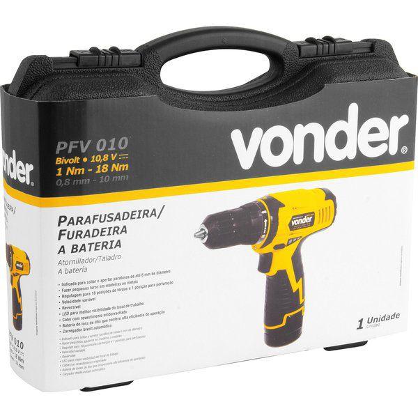 Parafusadeira/Furadeira à Bateria 10,8V Carregador Bivolt Automático PFV 010 Vonder