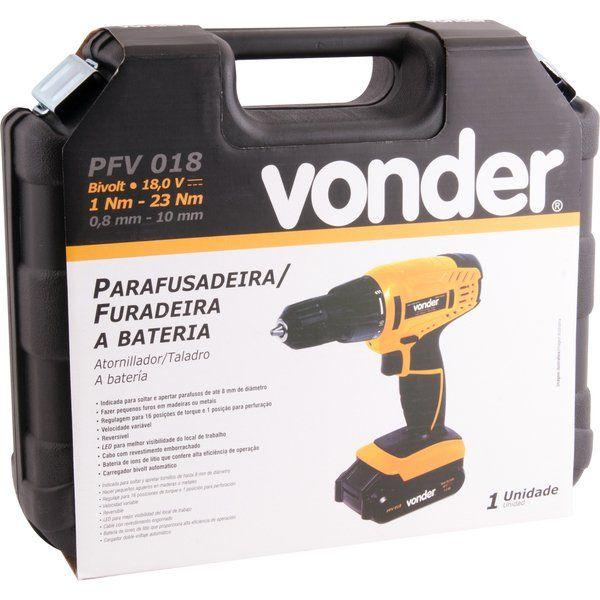 Parafusadeira/Furadeira A Bateria 18,0 Carregador Bivolt Automático PFV 018 Vonder