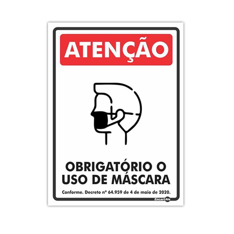 Placa De Sinalização Atenção - Obrigatório O Uso de Máscara 20cmX15cmX0,80mm