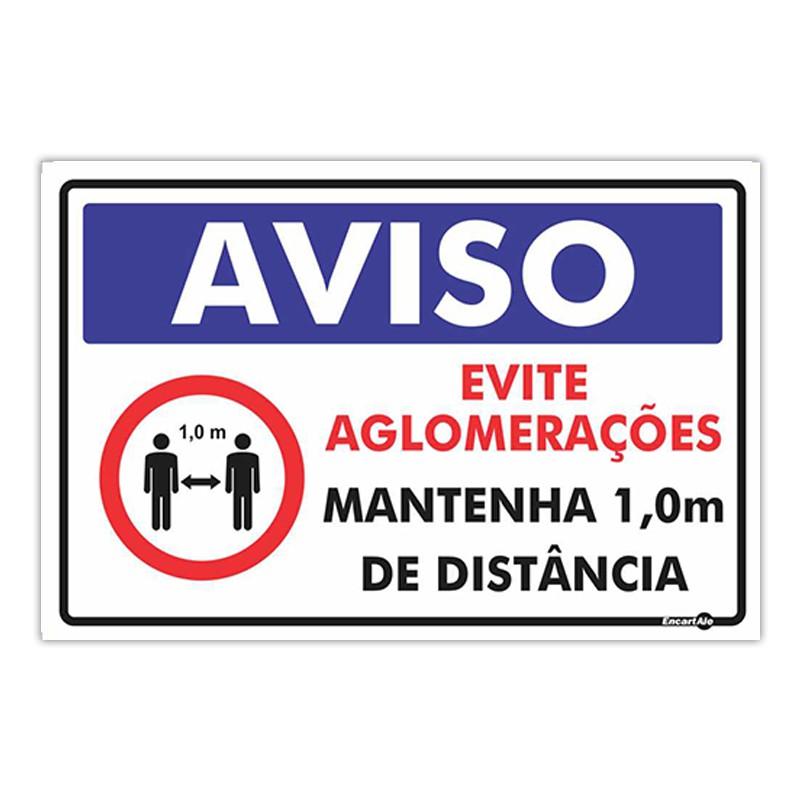 Placa De Sinalização Evite Aglomerações 30cmX20cmX0,80mm