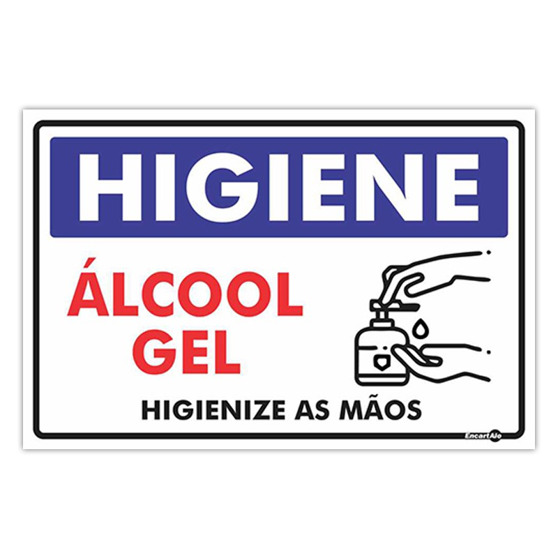 Placa De Sinalização Higiene - Álcool Gel 30cmX20cmX0,80mm