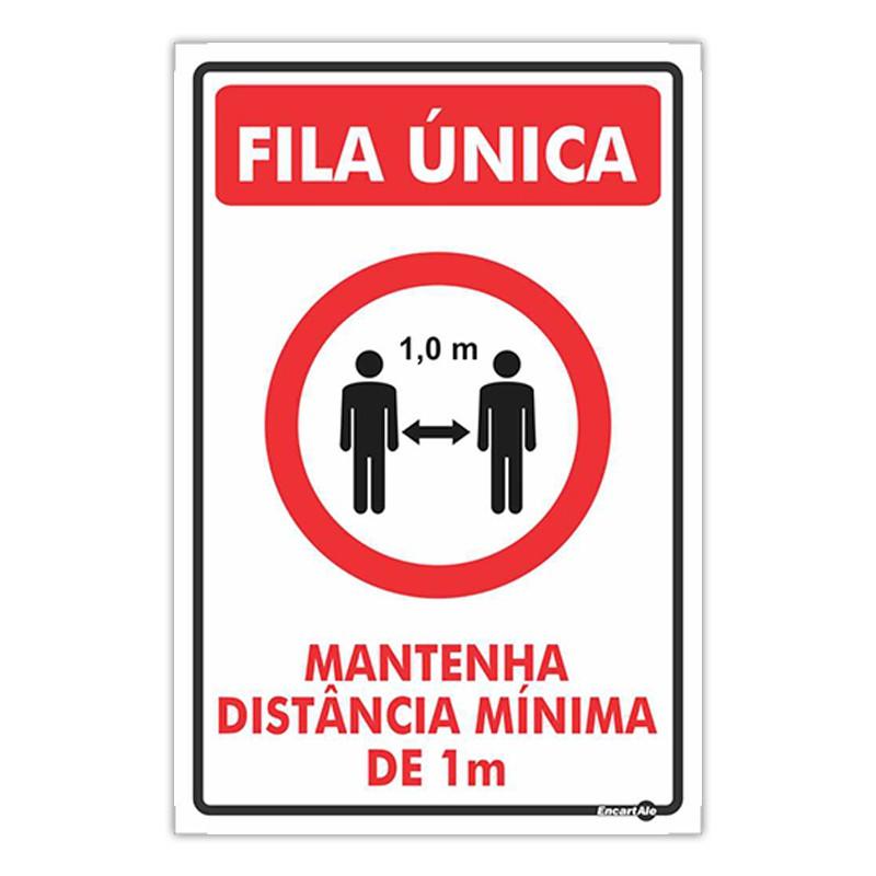 Placa De Sinalização Mantenha Distância Mínima de 1M 20cmX30cmX0,80mm