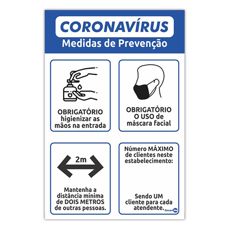 Placa De Sinalização Medidas de Prevençaõ 20cmX30cmX0,80mm