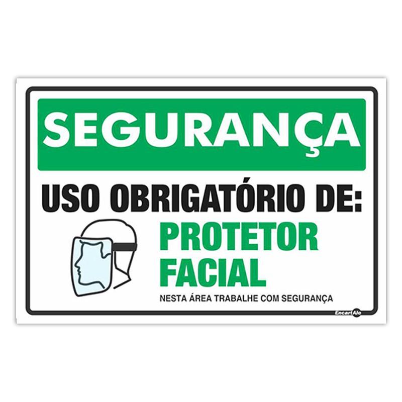 Placa De Sinalização Uso Obrigatório de Protetor Facial 30cmX20cmX0,80mm