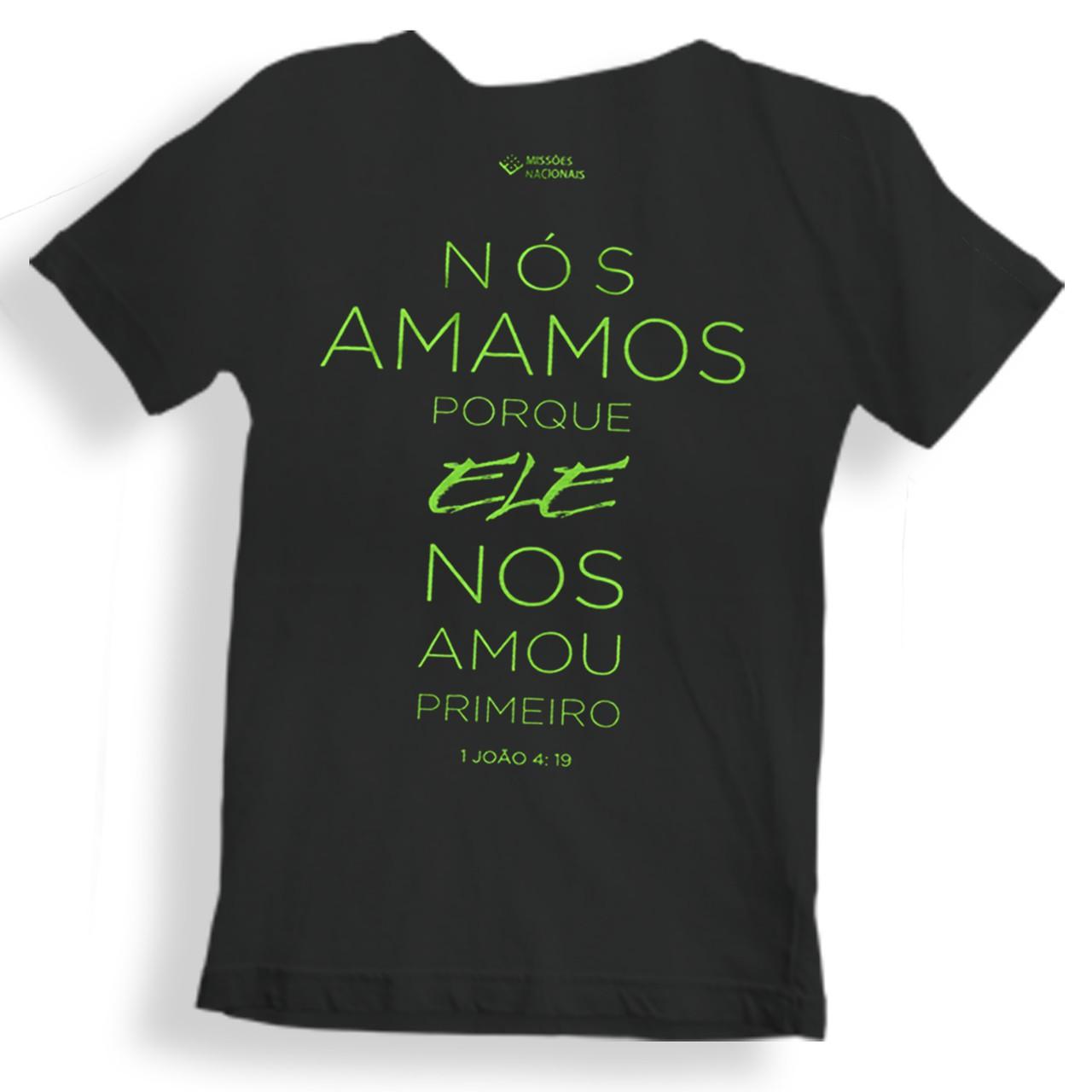 Camisa Porque Ele Me Amou - Infantil - Preta
