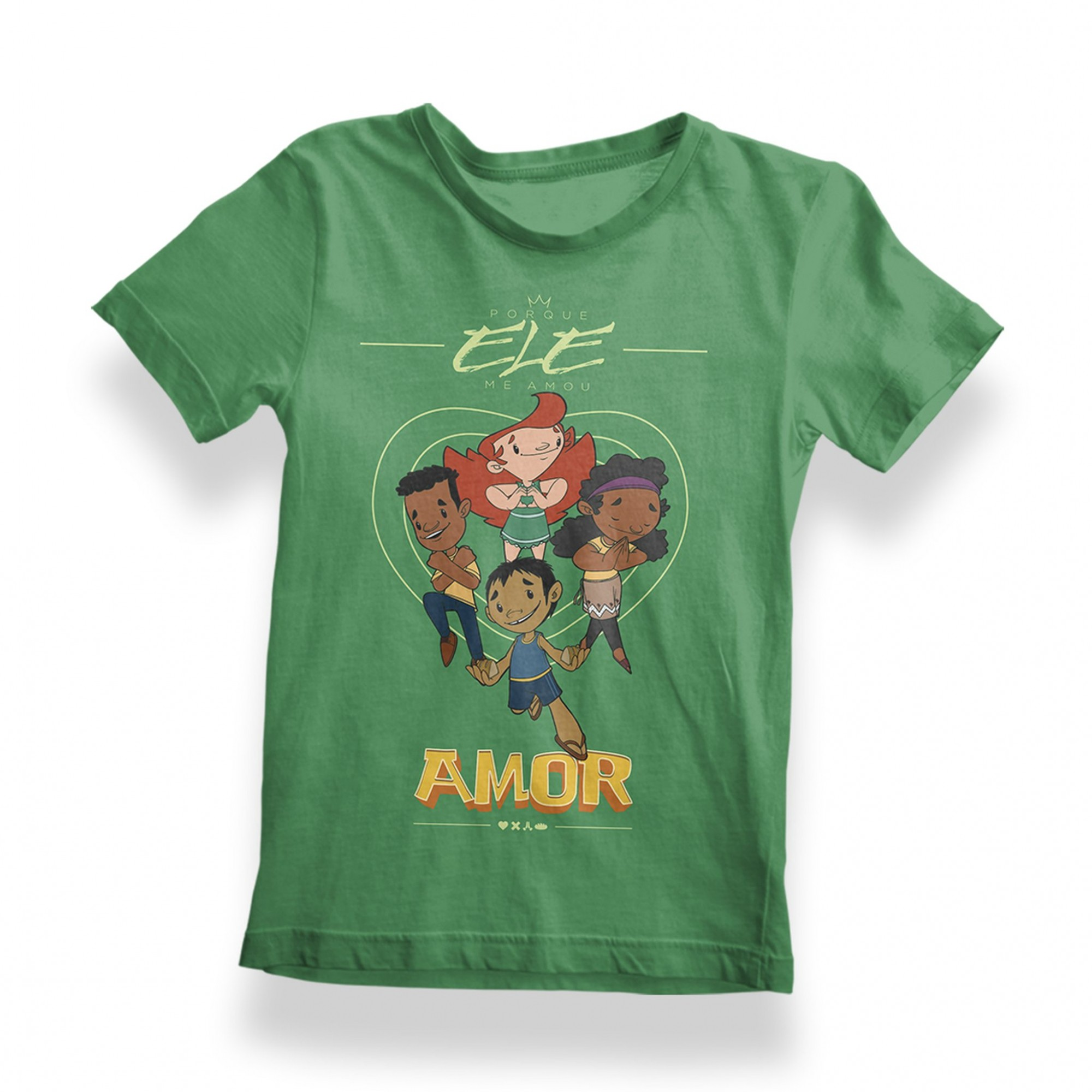 Camisa Porque Ele Me Amou - Infantil - Verde