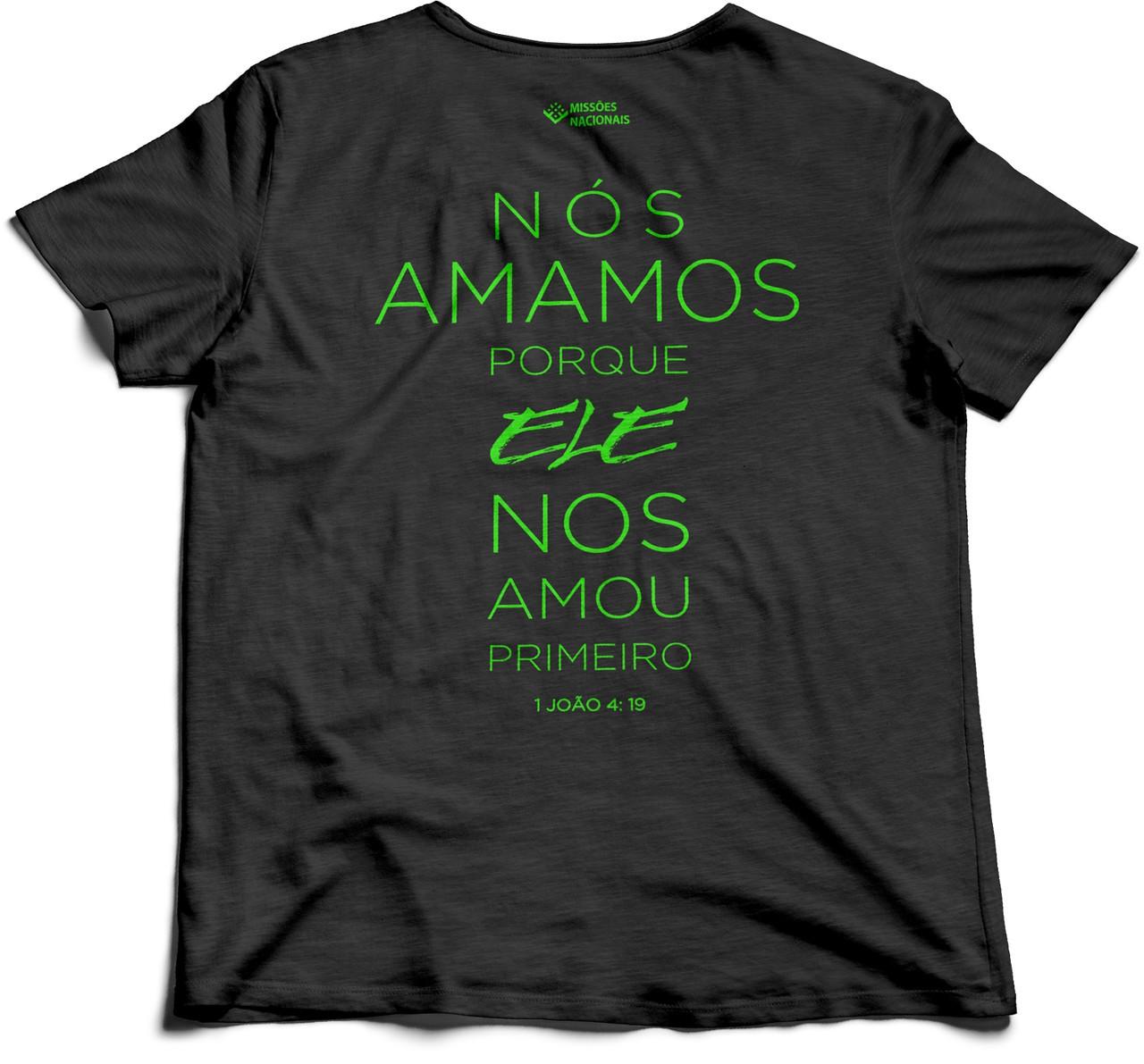 Camisa Porque Ele Me Amou - Vertical - Preta