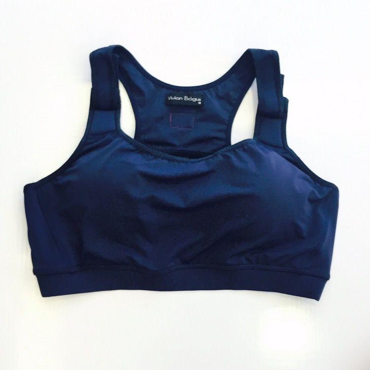 Top super sustentação de compressão com bojo em sportiva ajuste alça e costas azul marinho  - Vivian Bógus