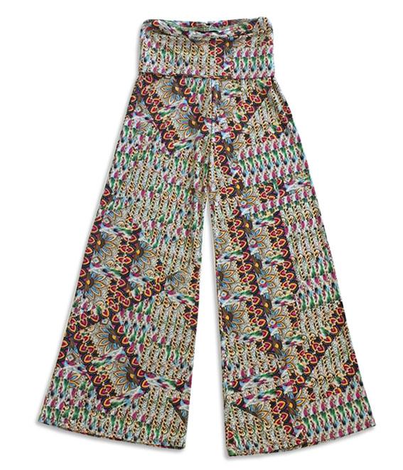 Calça pantalona em malha fria estampa psicodélica  - Vivian Bógus