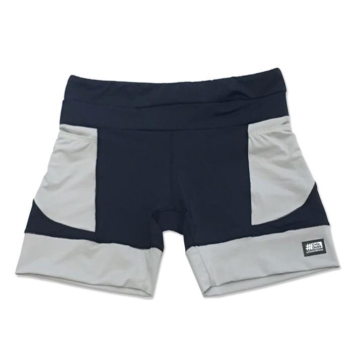 Shorts de compressão mil bolsos em sportiva preto com bolso e barra cinza