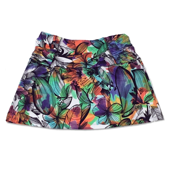 Saia fitness cós drapeado estampa floral colorido  - Vivian Bógus