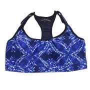 Top de compressão com bojo em sportiva ajuste alça e costas estampado azul e branco