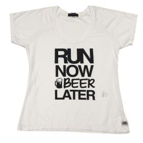CAMISETA RUN NOW BEER LATER BRANCA