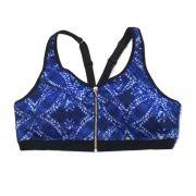 Top de compressão ziper frontal com bojo em sportiva ajuste alça e costas estampado azul e branco