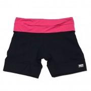Shorts de compressão mil bolsos em compress preto com cós pink