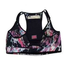 Top de compressão com bolso e bojo em swim ajuste alça e costas estampa pinceladas bolso preto