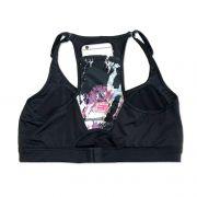 Top de compressão com bolso e bojo em swim ajuste alça e costas preto bolso estampa pinceladas