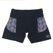 Shorts de compressão mil bolsos em compress preto com bolsos mão azul