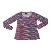 Blusa decote U estampa color manga longa