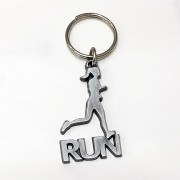 Chaveiro corredora run prateado escovado