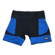 Shorts de compressão mil bolsos em compress preto com bolsos  e barras azuis