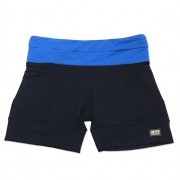 Shorts de compressão mil bolsos em compress preto com cós azul