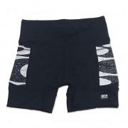 Shorts de compressão 1500 bolsos em sportiva preto com bolsos laterais estampa Copacabana ( estampa pode variar nos bolsos conforme encaixe do tecido)