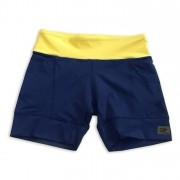 Shorts de compressão com bolsos laterais em sportiva marinho com cós amarelo