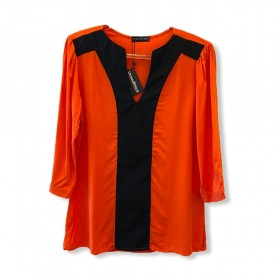 Bata bicolor laranja e preta