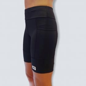 Bermuda de compressão masculina - unissex 1500 bolsos quadrados em sportiva preto