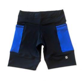 Bermuda de compressão masculina - unissex 1500 bolsos quadrados em sportiva preta bolso azul royal