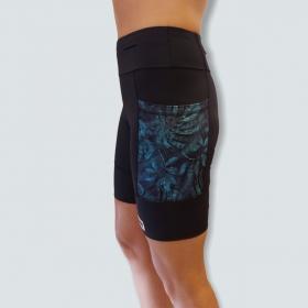 Bermuda de compressão unissex 1500 bolsos em Sportiva preto bolsos estampa folhagem