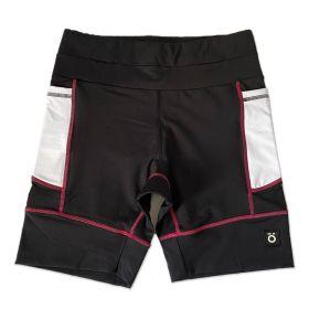Bermuda de compressão modelagem unissex 1500 bolsos em compress preto bolsos brancos e costura rosa