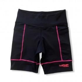 Bermuda de compressão ReStart  com bolsos laterais em bodytex preto com costuras pink (UNISSEX)