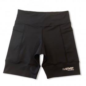 Bermuda de compressão ReStart  com bolsos laterais em bodytex preto (UNISSEX)