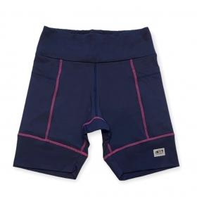 Bermuda de compressão unissex square em sportiva azul marinho costura pink
