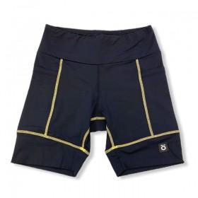 Bermuda de compressão unissex square em sportiva preto costura amarela