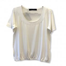 Blusa blusê pesponto decote off white