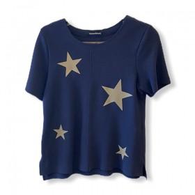 Blusa buclê marinho com estrelas
