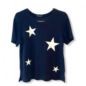 Blusa buclê preta com estrelas