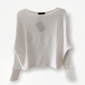 Blusa cropped canelada branca tricot