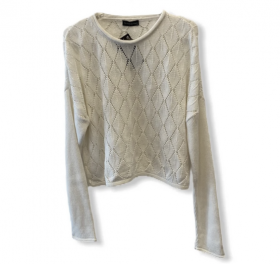 Blusa cropped off white tricot