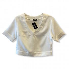 Blusa cropped shantung branca