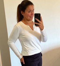 Blusa decote careca com vezinho off white